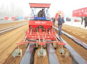 新款红薯起垄施肥铺膜一体机